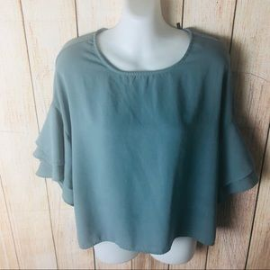 Shell Green Ruffle Short Sleeve Blouse Size: Small